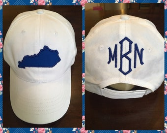 White Kentucky Hat with Monogram