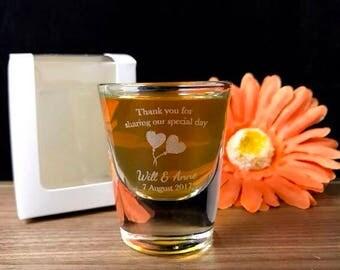 Personalised Engraved Shot Glasses 30ml - Wedding Design