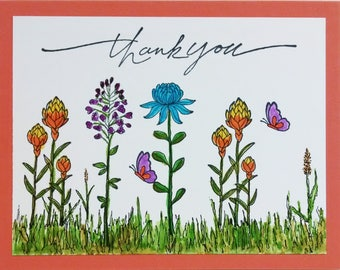 Thank You Card, Handmade Card, Stampin Up Card, Greeting Card, Spring Flowers