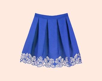 ROSALIA BLUE. Floral Lasercut Skirt, Tucked Skirt