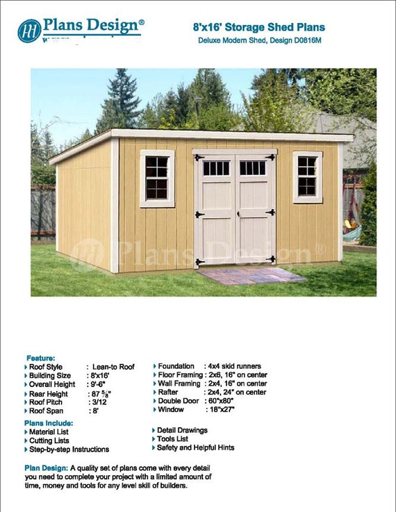 8 39 x 16 39 garden storage modern roof style shed plans for Shed plans and material list