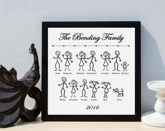 Personalised Stick Family Framed Print