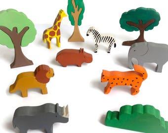 Safari animals wooden set - waldorf figures - eco friendly toys
