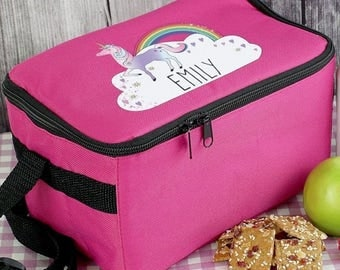 Personalised Unicorn Pink Lunch Bag Back To School Kids Childrens Gifts Ideas For Her Birthday Christmas Daughter Sister Girls Magical