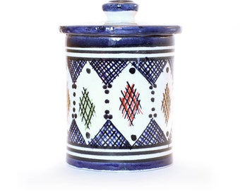 Berber Storage Pot, Blue Dark
