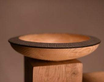 Textured ash Bowl / painted