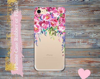 iPhone 7 case Floral, Peonies, iPhone  7 Plus clear case, iPhone 6 / 6 Plus Case, iPhone 5s / 5 / SE Case,  iPhone case Plastic /rubber.