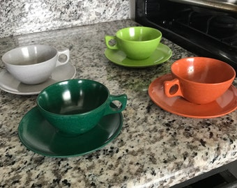 Melmac cups and saucers- set of 4