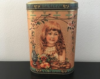 Vintage, Daher Ginger Biscuit Tin, English, Art Deco Style, Home Decor, Country Kitchen,Metal Tin, Storage,Daher,Tin,Gold Tin,Kitchen Decor