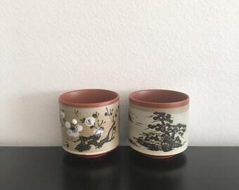 Vintage, Japanese Otagiri Stoneware Tea Cups, Made in Japan, Ceramic Pottery Oriental Decor, Home Decor, Asian Art,Japanese,Tea Cup,Oriental