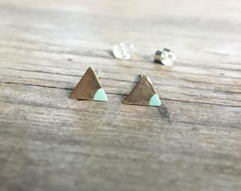 Blue and Gold - Dipped Triangle Studs - Tiny Triangle Earrings - Brass and Sterling  Silver - Everyday Occasion - Dainty Earrings