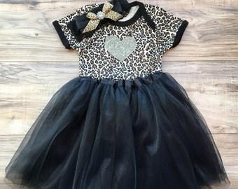Chic Couture Leopard Love Onesie Black Tutu Set 12 - 18 months