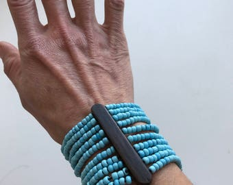 Vintage Turquoise Seed Bead Wide Stretch Bracelet