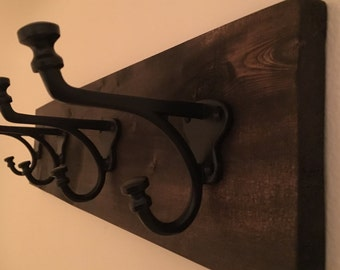 Rustic Coat Rack with Hooks in a Wrought Iron Finish - 18 and 24 Inches