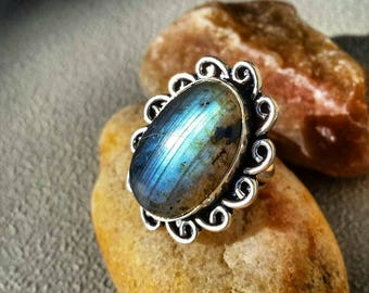 Labradorite Ring 9 Sterling Silver Blue Natural Gemstone Rings