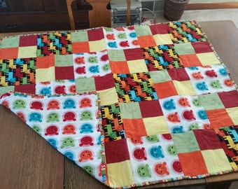 Primary color handmade lion quilt