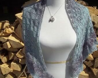 Lavender Sky Shawl ** knit shawl, lace shawl, handmade shawl, shawl, hand dyed