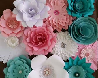 12 assorted medium sized paper flowers for party or home decor