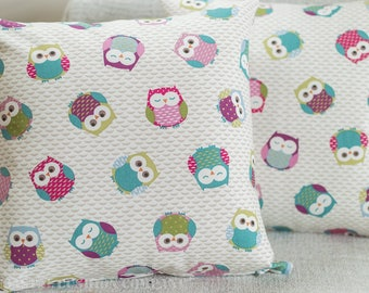 "Owls multi-coloured cushion cover. 17"" x 17"" Square, 100% Cotton."