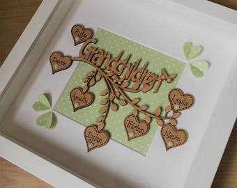 Handmade Personalised Grandchildren Box Frame picture, Mothers Day, Mum Gift, Birthday Gift, Grandparents