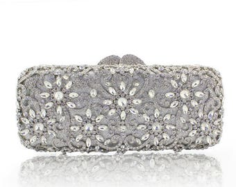 Glamorous silver evening clutch bag with high Quality  Crystals