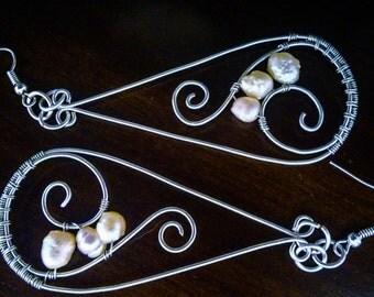 Silver Dangle Pearl Earrings, Silver Dangle Earrings, Bridal Pearl Dangle Earrings, Swirls and Pearls, Classy Pearl Earrings, Silver Pearl