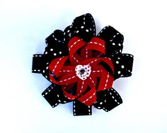 Red and Black Stacked Loopy Bow