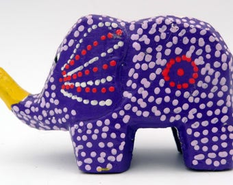 Elephant trompe air painted wood Hand Carved Wooden Hand Painted Elephant