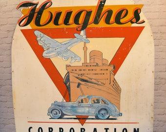 Hughes Corporation art deco metal sign vintage industrial mancave retro cafe restaurant pub cars plane