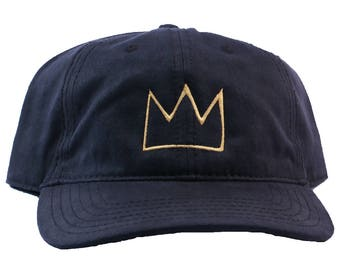 Basquiat Crown Embroidered Soft Coated Canvas Dad Hat