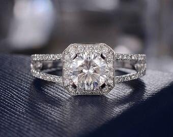Unique Moissanite Engagement Ring Forever One Halo Wedding Ring White Gold Half Eternity Ring Anniversary Women Split Shank Double Band Ring