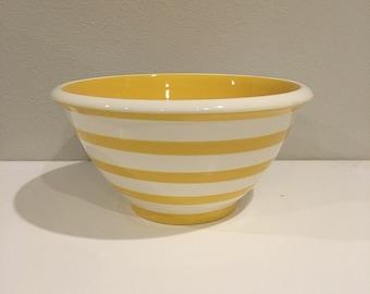 Terramoto Ceramics (original) Yellow and White-Striped Large Mixing Bowl