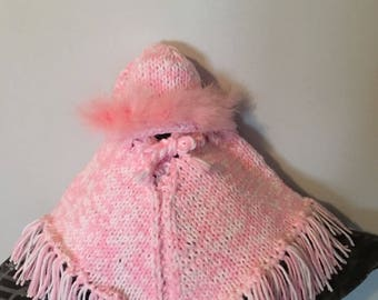Pink and White Sweater Style Ponch and Hat w/ Pink Boa