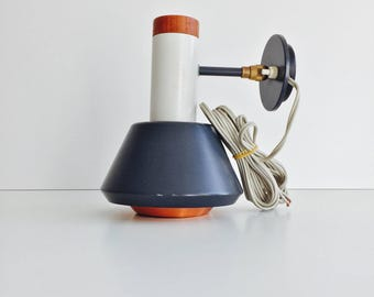 Midcentury Modern wall / bedside lamp in copper, blue and white with teak finish
