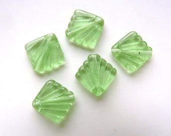 5 Green Fan Beads - Pressed Glass Beads