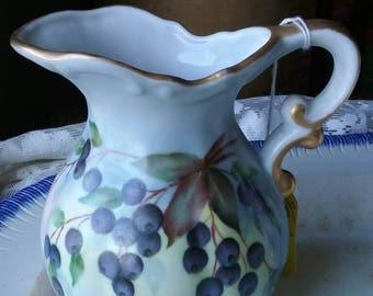 Pitcher hand painted bone china blueberries.