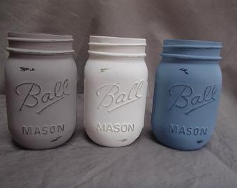 Blue white Beige/Gray, Painted Mason Jars, Mason Jar Decor, Mason Jar Vase, Jar Centerpiece, Chic Jar Centerpiece, Lake House Decor