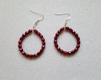 Sterling Silver Red Hoop Earrings