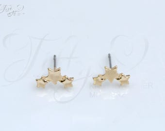Trendy earrings * 3 x star * star * stars