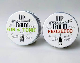Prosecco and Gin & Tonic Lip Balm set, Lip Repair by The Prohibition Co. Mother's Day Gift!