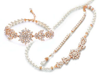 Gold pearl necklace, pearl bracelet, bridal jewelry set, necklace bracelet set, crystal jewelry set, wedding jewelry set, pearl CZ set