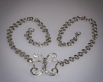 Sweet Butterfly Pendant, Argentium Silver, Chain Necklace, One of a Kind