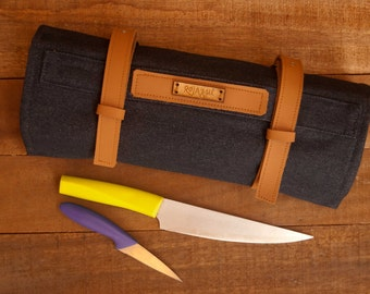Denim-Leather Knives Roll