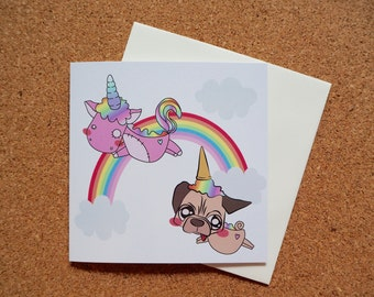Pug Unicorn Wanna Be - Square Greeting Card - 141mm x 141mm