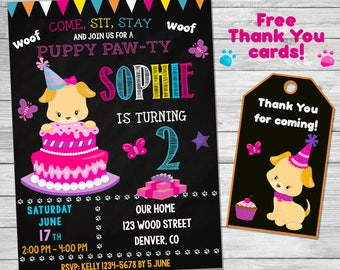 Puppy pawty invitation Puppy Pawty invite 1st First birthday outfit Pawty invitation printable Pawty party supplies For boys and girls