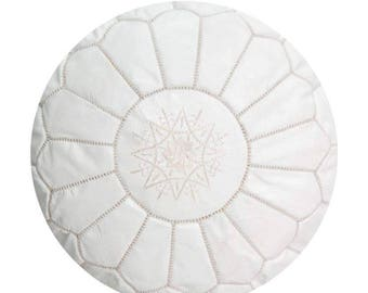 Moroccan Pouf Unstuffed White Authentic Handmade Genuine Leather Ottoman Pouffe Footstool