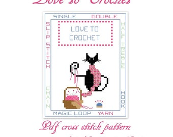 Love to crochet mini black cat digital cross stitch pattern, cross stitch design, cat cross stitch, black cat cross stitch chart.
