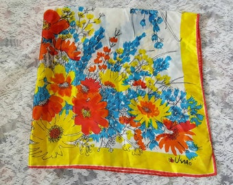 Beautiful Vera Neumann ladybug 1960s Floral Scarf/Gifts for her/Made In Japan/Vintage Womens Accessories