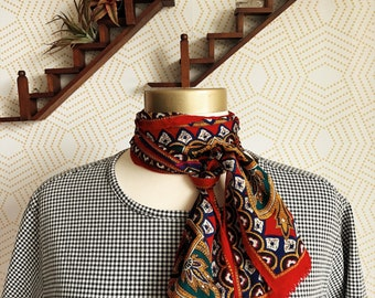 Vintage 1970s Oscar De La Renta Studio Silk Scarf, Red with Asian Inspired Pattern Silk Scarf, Vintage Neck Scarf, Vintage Head Scarf, Silk