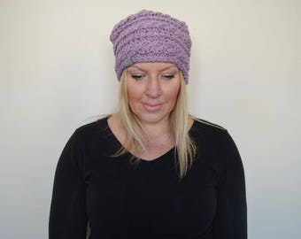 The Steffer Slouchy Cable Hat in Lilac Mist